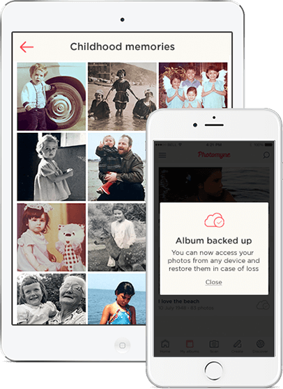 iOS devices with scanned photo albums and Photomyne app's message that album is backed up on the cloud