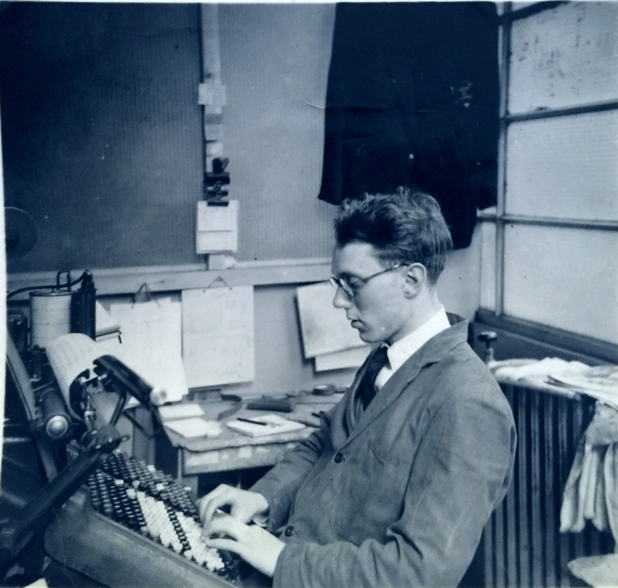 My father, John Rogers (1932-2004) aged 21 first job as a print compositor .